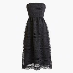 New JCREW Black Petite strapless dress Mixed Lace